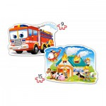 Castorland-B-020058 2 Jigsaw Puzzles - Fire Brigade in Action