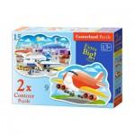 Castorland-B-020072 2 Jigsaw Puzzles - Airport Adventures