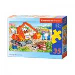 Puzzle  Castorland-B-035113 Orange Excavateur
