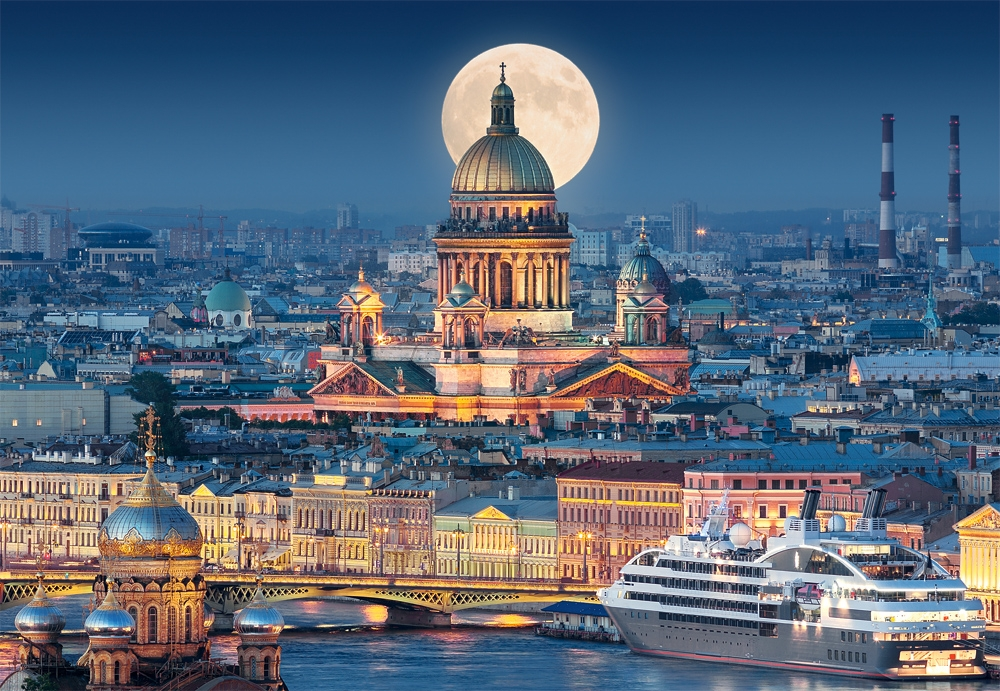 puzzle fullmoon over st isaac s cathedral saint petersburg