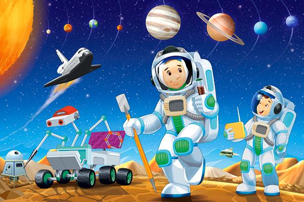 картинка пазл космонавт приостановлена работа ночного