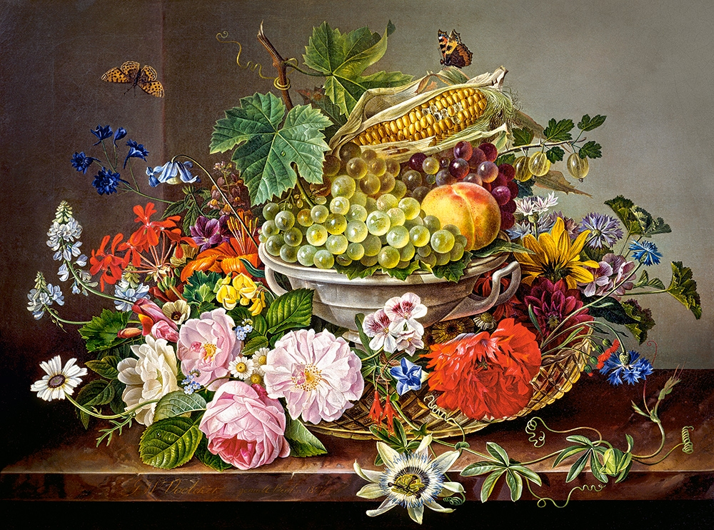 Flower Baskets Crossword Clue : Puzzle still life with flowers and fruit basket castorland