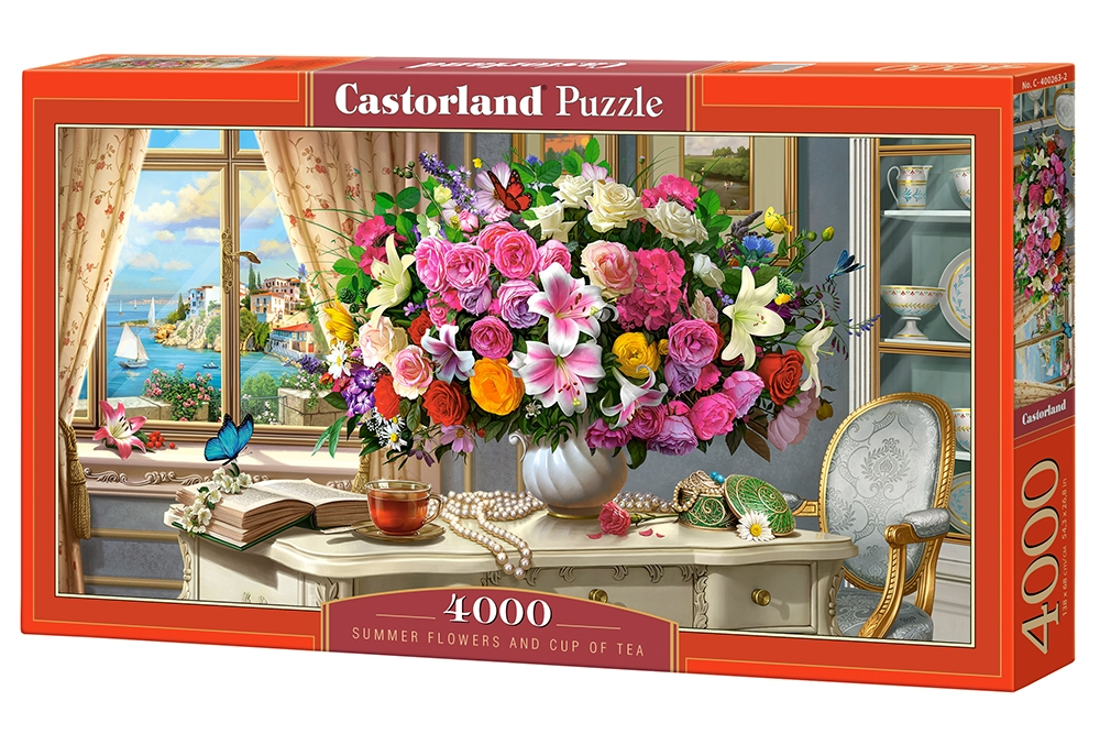 72219 Puzzle Castorland 4000 pièces-Summer Flowers and Cup of Tea