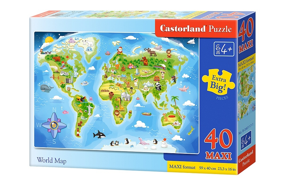 Puzzle xxl pieces world map castorland 040117 40 pieces jigsaw xxl pieces world map gumiabroncs Image collections