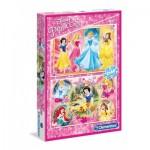 Clementoni-07133 2 Puzzles - Disney Princess