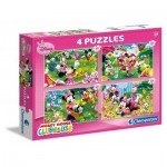 Clementoni-07603 4 Jigsaw Puzzles - Mickey Mouse & Friends