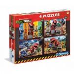 Clementoni-07612 4 Puzzles - Dinotrux