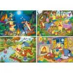 Clementoni-07618 4 Puzzles - Winnie The Pooh (2x20, 2x60 Pieces)
