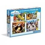 Clementoni-07710 4 Progressive Jigsaw Puzzles - Dreamworks