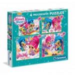 Clementoni-07715 4 Puzzles - Shimmer & Shine