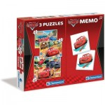 Clementoni-07802 3 Puzzles - Cars + Memo