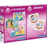 Clementoni-07806 3 Jigsaw Puzzles + Memo - Disney Princess