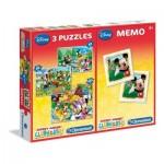 Clementoni-07808 3 Jigsaw Puzzles + Memo - Mickey