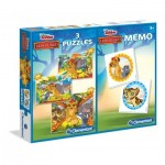 Clementoni-07810 3 Jigsaw Puzzles + Memo - The Lion Guard