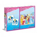 Clementoni-07915 Puzzle Disney Princess + Memo