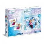 Clementoni-07916 Puzzle Frozen + Memo
