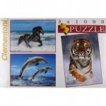 Clementoni-08004 3 Jigsaw Puzzle - Animals