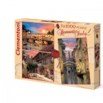 Clementoni-08007 3 Jigsaw Puzzles - Romantic Italy