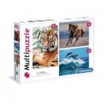 Clementoni-08010 3 Puzzles - Animals