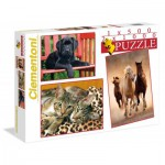Clementoni-08103 Jigsaw Puzzle 500 Pieces + 2 Jigsaw Puzzles 1000 Pieces - Animals