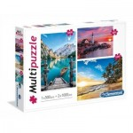 Clementoni-08106 3 Puzzles - Mountain, Lighthouse, Paradise Beach