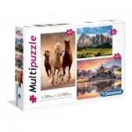 Clementoni-08107 3 Puzzles - Horses, Mountain, Mont Saint-Michel