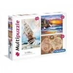 Clementoni-08108 3 Puzzles - Travel