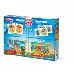Clementoni-08212 2 Jigsaw Puzzles Lion Guard + Memo + Domino