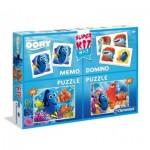 Clementoni-08213 2 Jigsaw Puzzles Dory + Memo + Domino