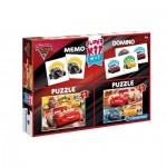 Clementoni-08215 Super Kit 4 in 1 - Cars 3 - 2 Puzzles + Memo + Domino
