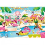 Puzzle  Clementoni-20151 Supercolor Flamingo Party - Glossy Effect
