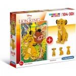 Clementoni-20158 The Lion King (Puzzle + 3D Model)