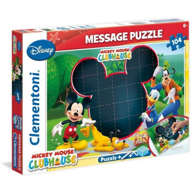 Clementoni-20232 Message-Puzzle Mickey Mouse Club House