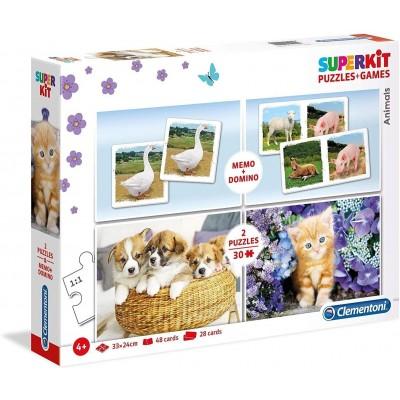 Clementoni-20240 Superkit 4 in 1 - Animals (2 Puzzles + Memory + Domino)