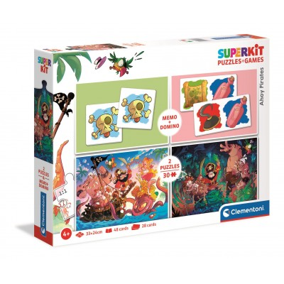 Puzzle Clementoni-20266 Superkit Pirates - 2x30 Pièces + Memo + Domino