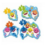 Clementoni-20828 Baby Shark - 4 Progressive Puzzles (3/6/9/12 Pieces)