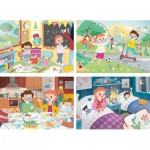 Clementoni-21306 4 Puzzles - A Beautiful Day (2x20, 2x60 Pieces)