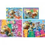 Clementoni-21407 44 Cats - 4 Progressive Puzzles (20/60/100/180 Pieces)