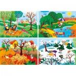 Clementoni-21408 The 4 Seasons - 4 Progressive Puzzles (20/60/100/180 Pieces)