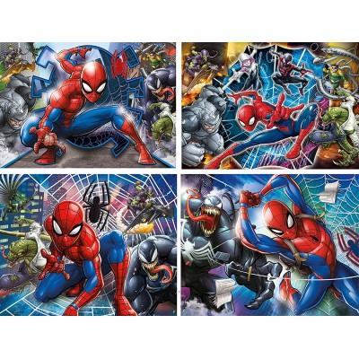 Clementoni-21410 Spiderman - 4 Progressive Puzzles (20/60/100/180 Pieces)