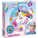Clementoni-23035 Puzzle Clock - Unicorn