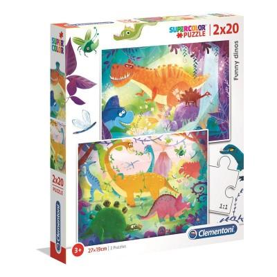 Clementoni-24755 2 Puzzles - Funny Dinos