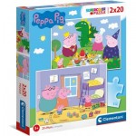 Puzzle  Clementoni-24778 Peppa Pig Supercolor Pig (2x20 Pieces)