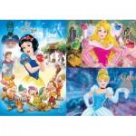 Clementoni-25211 3 Jigsaw Puzzles - Disney Princess