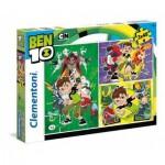 Clementoni-25225 3 Puzzles - Ben 10