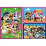 Clementoni-25239 3 Puzzles - 44 Cats (3x48)