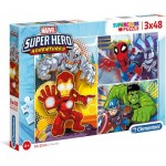 Clementoni-25248 3 Puzzles - Marvel Super Heroes (3x48)