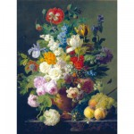 Clementoni-31415 Jigsaw Puzzle - 1000 Pieces - Van Dael : Vase with Flowers, Grapes, and Peaches