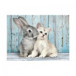 Puzzle  Clementoni-35004 Cat and Rabbit