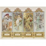 Clementoni-39177 Jigsaw Puzzle - 1000 Pieces - Mucha : The Four Seasons